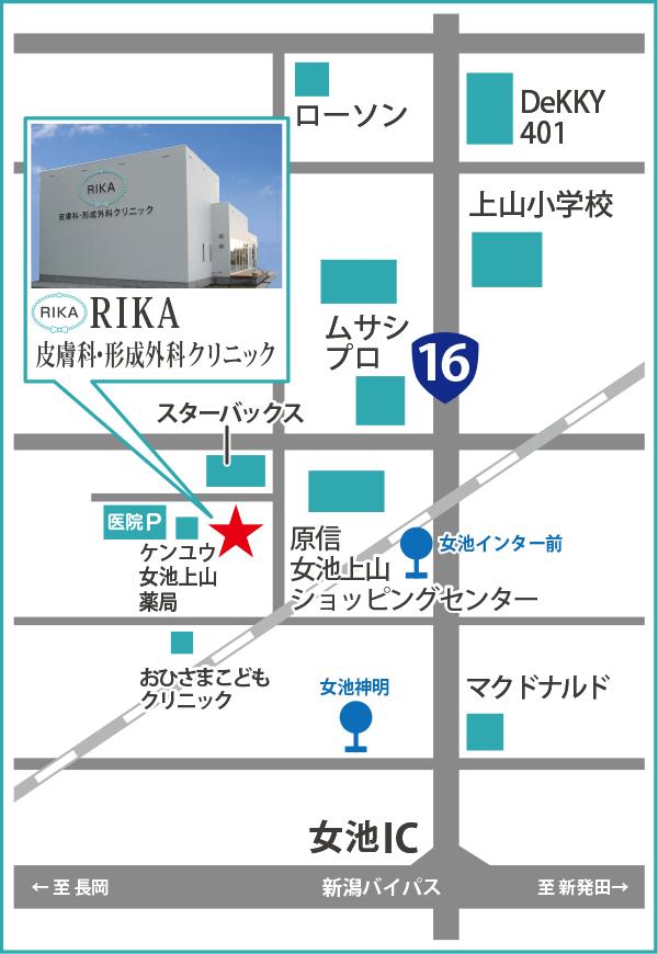 新潟市の皮膚科アクセスマップ